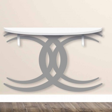 Wandkonsole für modernes Design in weißem und grauem Holz - Coco