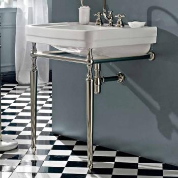 Badezimmerkonsole L69 cm auf weißen Vintage-Keramikfüßen, Made in Italy - Marwa