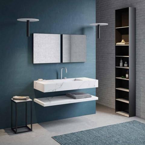 Badezimmerkonsole Integriertes Waschbecken und Hängeregal in Gres 4 Finishes - Rampina