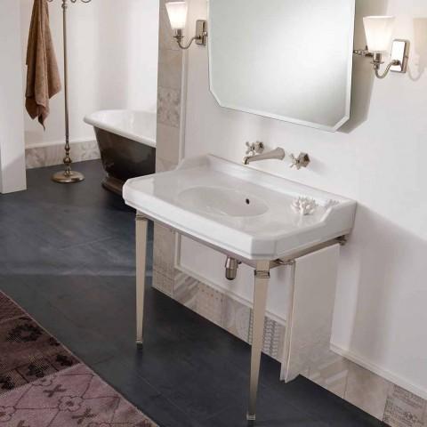 90 cm Vintage Badezimmerkonsole, weiße Keramik, mit Füßen Made in Italy - Nausica