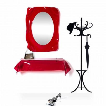 Modernes Design-Konsole aus transparentem rotem Plexiglas. drapierter Wunsch