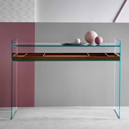 Design Consolle aus extraklarem Glas mit Tablett Made in Italy - Imperativo