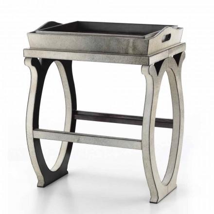 Modernes Design-Konsole mit Tablett in Felicia Grau Pony Leder