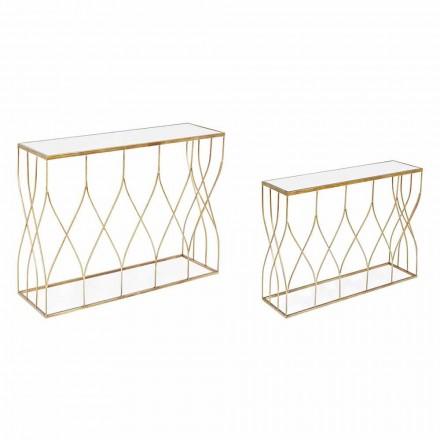 Elegante Konsole aus Stahl und Glas von modernem Design und Glamour 2 Stück - Irene