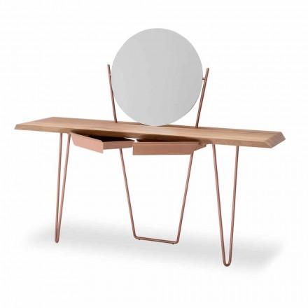 Konsolle aus Holz und Metall mit Spiegel Made in Italy – Bonaldo Coseno Plus