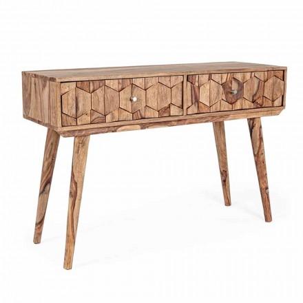 Sheesham Holzkonsole mit zwei Schubladen Ethnisches Design Homemotion - Fregene