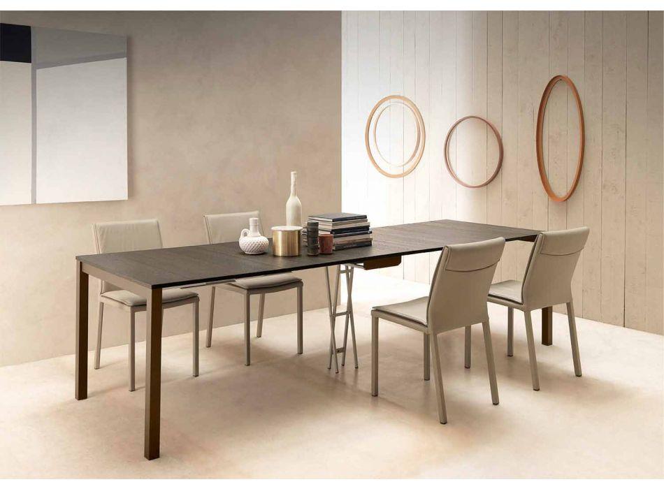 Ausziehbare moderne Konsole aus Eichenholz und Metall Made in Italy - Nappo