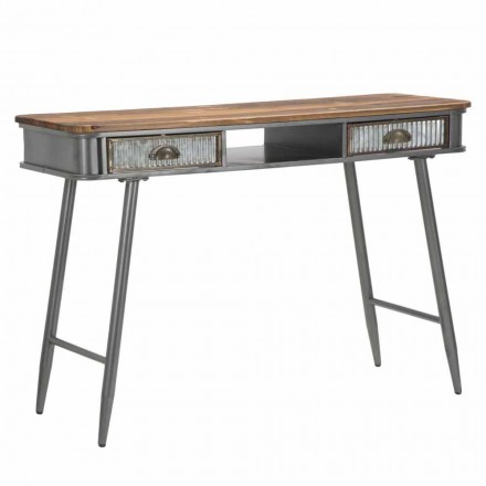Rechteckige Konsole im Eisen- und Holz-Industriedesign - Ermo
