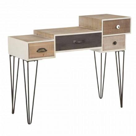 Moderne Konsole im Industriestil mit Schubladen aus Holz und Metall - Lille