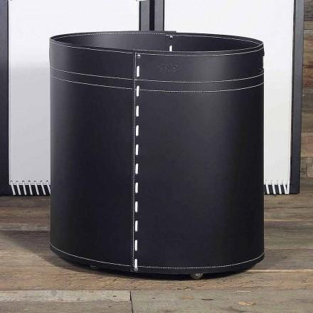 Holzbehälter für Kaminholz aus Leder, Astra,100% Italienisch