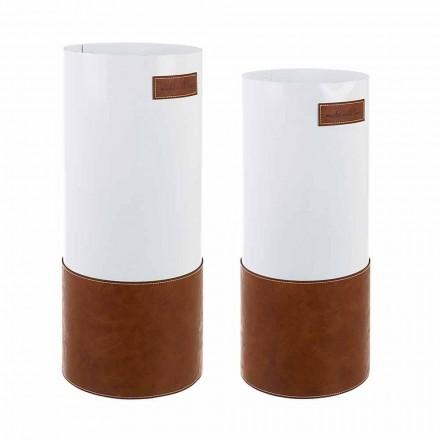 Paar moderne Schirmständer aus Stahl und Kunstleder Homemotion - Umbro