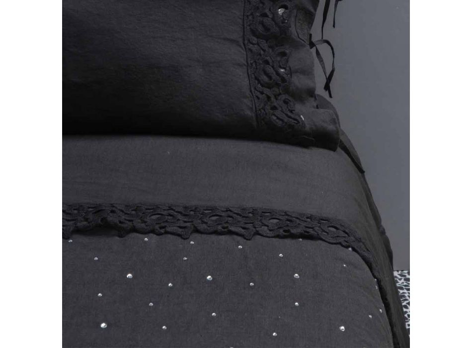 Bettbezug aus schwarzem Leinen mit Kristallen Luxus Doppelbett - Damante