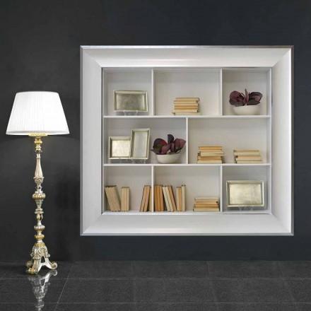 Tommaso Wandbücherschrank mit Holzfächern, handgefertigt in Italien