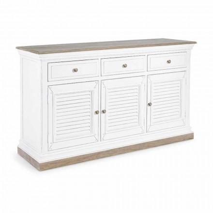 Klassisches Design Sideboard aus Mangoholz mit 3 Türen und 3 Schubladen - Baffy