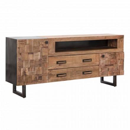 Design Sideboard aus Akazienholz und Eisen mit 2 Türen und 2 Schubladen - Dalya
