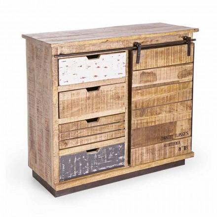 Sideboard aus Holz und Stahl mit Tür und 4 Schubladen im Industriestil - Renza