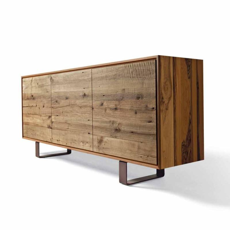 Modernes Sideboard mit 3 Türen aus natürlichem Nussbaum, B 215 x T 50 cm, Flora