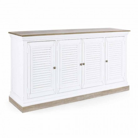 Klassisches Sideboard aus Mangoholz mit 4 Türen und Gusseisenknöpfen - Baffy