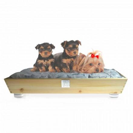 Hunde- und Katzenzwinger aus Massivholz mit Griffen und Kissen Made in Italy - Lyn