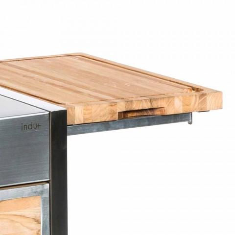 Außenküche aus Stahl und Holz mit Teppanyaki - Buoncalliope