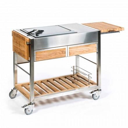 Außenküche auf Rädern aus Stahl und Holz mit Teppanyaki - Buoncalliope