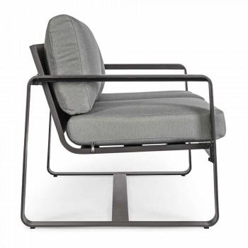 2-Sitzer-Outdoor-Sofa aus Aluminium mit Stoffkissen - Mirea