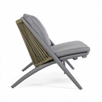 2-Sitzer-Outdoor-Sofa aus Aluminium und Seil mit Homemotion-Kissen - Gillian