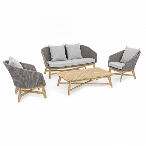 2-Sitzer Outdoor-Sofa aus Stoff mit Teakstruktur, Homemotion - Azeno
