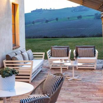 3-Sitzer-Outdoor-Sofa aus weißem oder schwarzem Aluminium und blauen Kissen - Cynthia