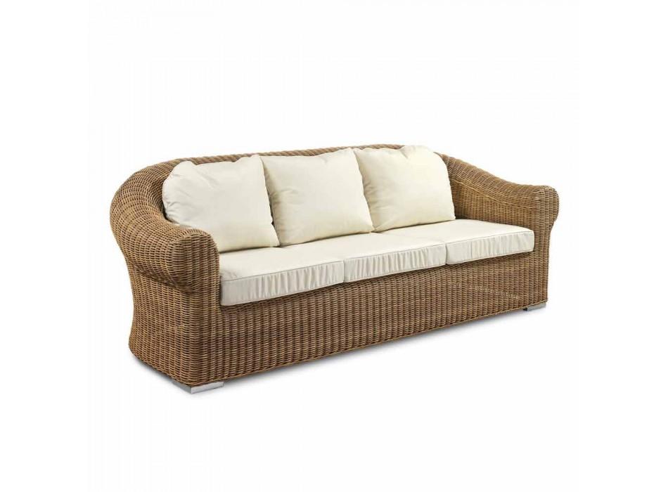 3-Sitzer-Sofa im Freien aus synthetischem Rattan und weißem oder Ecru-Stoff - Yves