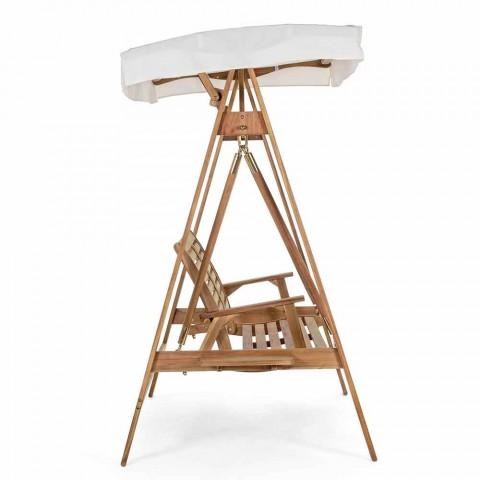 2-Sitzer-Schaukelsofa aus Akazienholz mit weißer Leinwand - Roxen