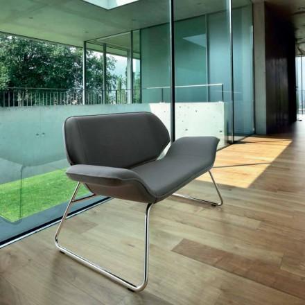 Sofa für Wartezimmer aus verchromten Stahl und Leder Cesare