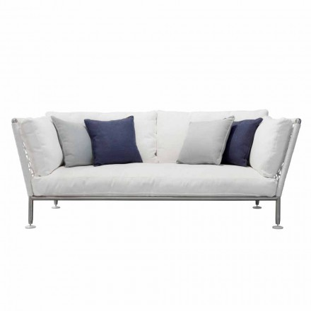 Outdoor-Sofa aus Stahl und gewebten PVC-Stoffkissen - Ontario6