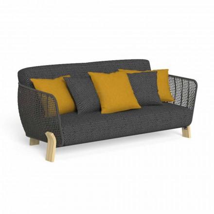 Outdoor-Sofa aus Stoff und hochwertigem gepolstertem Seil - Argo von Talenti