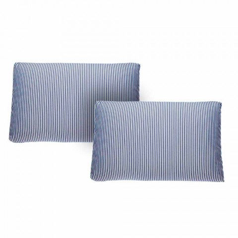 2-Sitzer-Gartensofa aus weißem oder schwarzem Aluminium und blauen Kissen - Cynthia