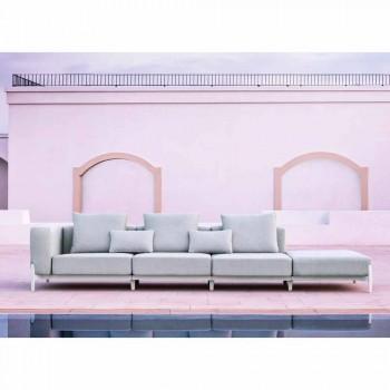 3-Sitzer-Gartensofa mit Verlängerung, Design aus Aluminium und Stoff - Filomena