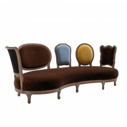 Luxus-Design-Sofa, 5 feste Holzrückenlehnen, hergestellt in Italien, Manno
