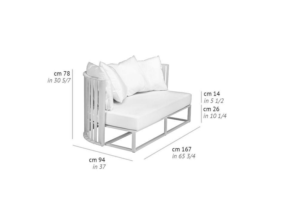 2-Sitzer-Outdoor-Sofa aus Aluminium mit luxuriösen Design-Seilen 3 Oberflächen - Julie