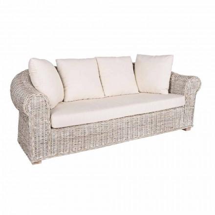 Sofa für Indoor oder Indoor 3 Sitze in Rattan Homemotion - Francioso