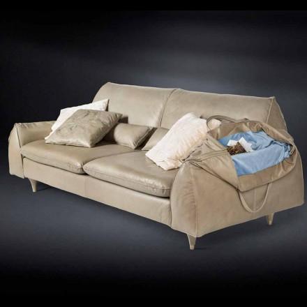Couch aus Massivholz und Leder, Armelehnen mit Ablage Eve