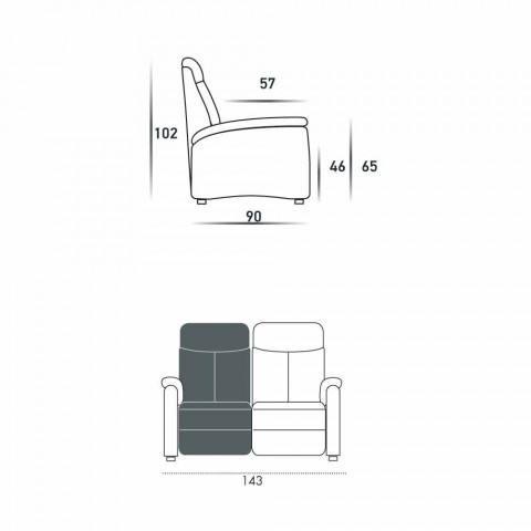 Motorisierte Couch 2 Sitze mit elektrischer Sitz Gelso 1, modernes Design