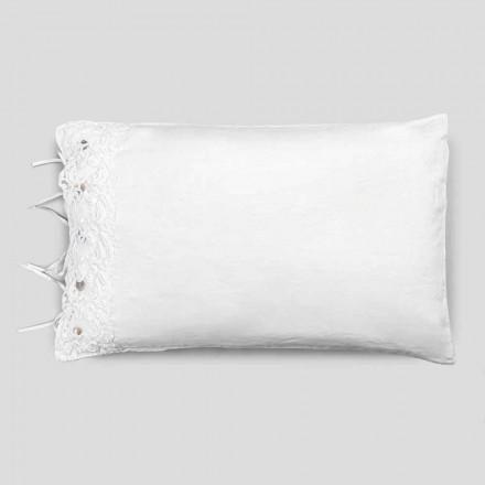 Bettwäsche Kissenbezug mit weißer Spitze, Luxus Design Made in Italy - Kiss