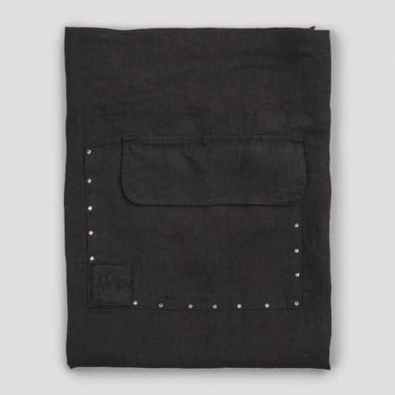 Schwarzes Leinen Küchenschürze mit Kristallen Niedriges Modell mit Tasche - Klicken