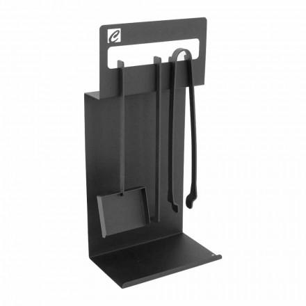 Set Design Kaminholzset  aus schwarzem Stahl Made in Italy - Ostro