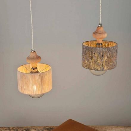 Hängelampe mit 2 Lichtern und Holzelement Bois