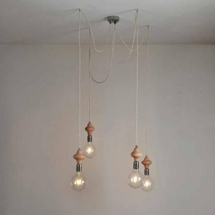 Hängeleuchte mit 4 Lichtern mit Holzelement Bois