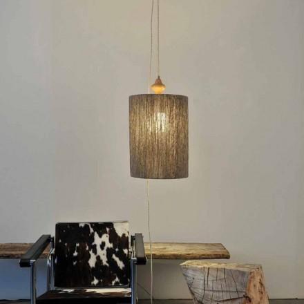 Moderne Stehlampe/Hängelampe aus Holz und 100% Wolle Bois