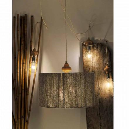 Hängelampe mit 4 Lichtern und Holzelement Bois