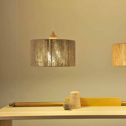 Moderne Hängelampe mit Holzelement Bois