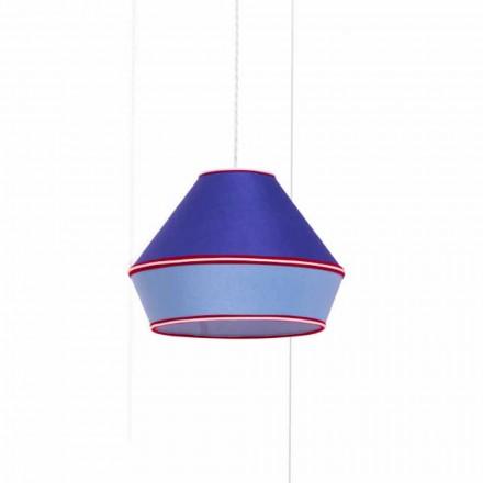 Moderne Hängelampe mit blauem Baumwolllampenschirm Made in Italy - Soja